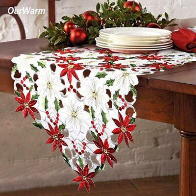 Embroiderd Christmas Poinsettia Table Runner Party Wedding Tablecloth Home Decor ()