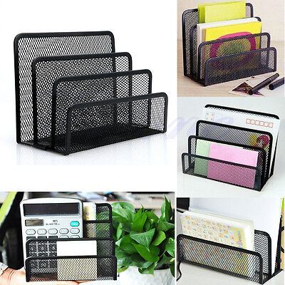Black Mesh Letter Sorter Mail Document Tray Desk Office File Organiser Holder