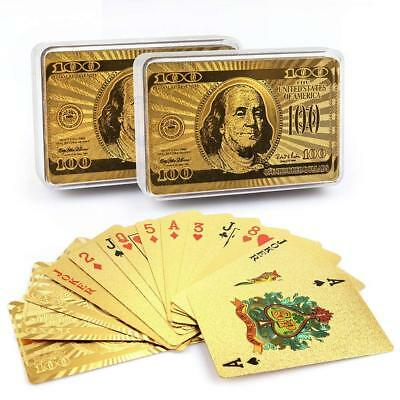 24K Plastic Playing Cards 2 Decks Poker Game Gold Foil Waterproof W/ Storage Box