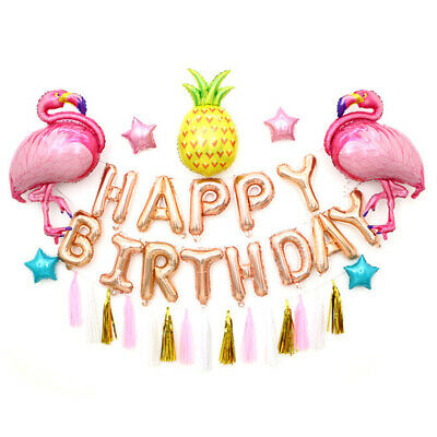 Flamingo and Pineapple Balloons HAPPY BIRTHDAY Letters with Tassel Banners