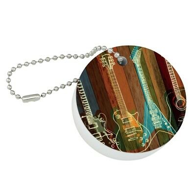 Guitars Electric Acoustic Rock and Roll Floating Keychain Round for sale  Shipping to India