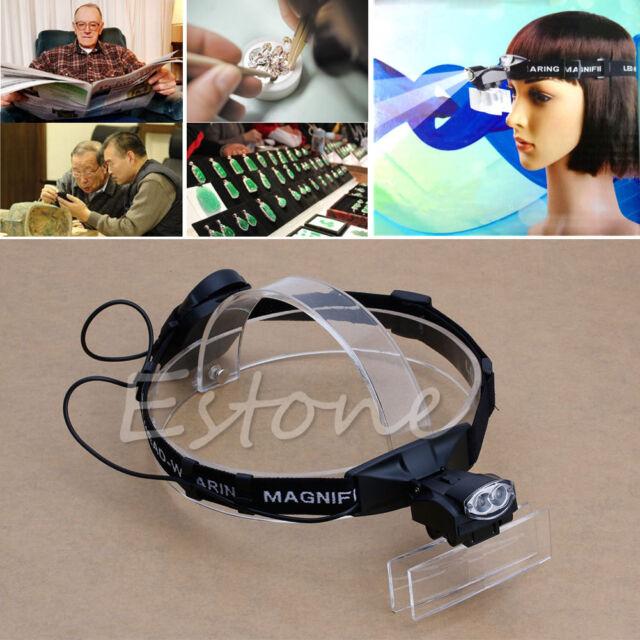 Headband Headset 2-LED Head Light Magnifier Magnifying Glass Loupe 5Lens Upto 6X