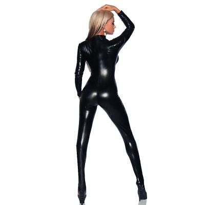 4 Way Zip Catsuit Wetlook Sexy Stretch Spandex Catsuit Cat woman Dress (Pvc Catwoman Kostüme)