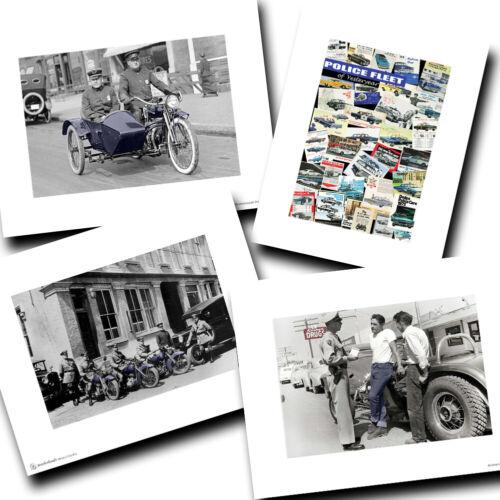Vintage Police Traffic & Transportation Motorcycle Designs Four Photo Prints
