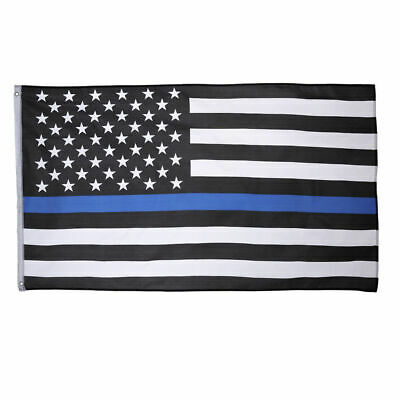Thin Blue Line American Flag 3X5′ Police Stars & Stripes Support Flag w Grommets Décor