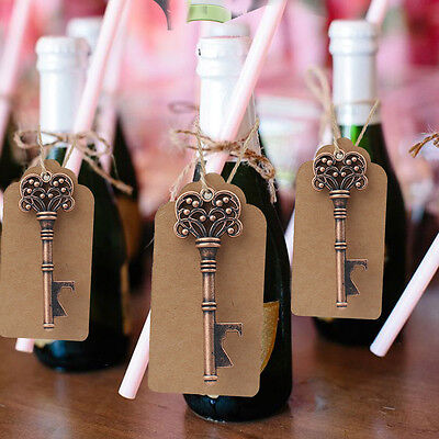 100x Skeleton Key Bottle Opener + Tag Card Bridal Party Souvenirs Wedding Favors