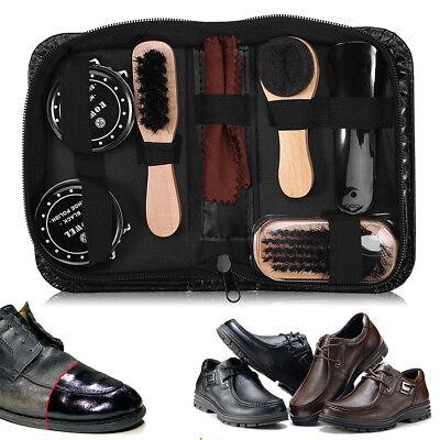 8PCS Leather Shoes Care Tool Boot Polishing Cleaning Kit Shine Brush Set W/ Bag