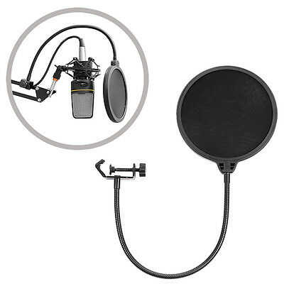 Dual Layer Studio Microphone Mic Wind Screen Mask Gooseneck Shield Pop Filter