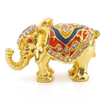 Crystal Elephant Trinket Box - Animal Golden Elephant Metal Crystal Trinket Box Jewelry Ring Holder Decor Gifts
