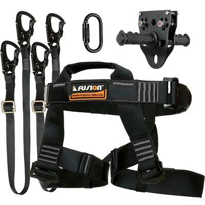 Fusion Tactical Pro Zip Line Kit Harness/2 LanyardCarabinerTrolley FTK-A-HLLCT14