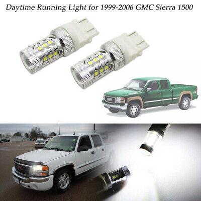 2pcs Bright White LED Daytime Running Lights Bulbs For 1999-2006 GMC Sierra 1500 1500 Parking Light Replacement
