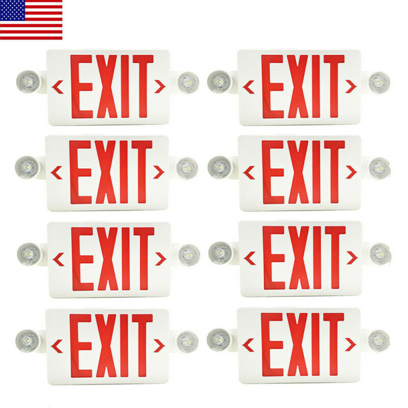 8Pack LED Exit Sign Emergency Light–Hi Output Compact Combo Red Fire UL listed