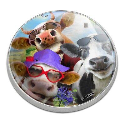 Udderly Cool Cow Farm Selfie Golfing Premium Metal Golf Ball Marker (Cool Ball Marker)