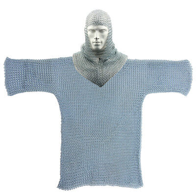 Medieval Knights Renaissance Functional 16g Chainmail Armor with Coif - Renaissance Knight Armor