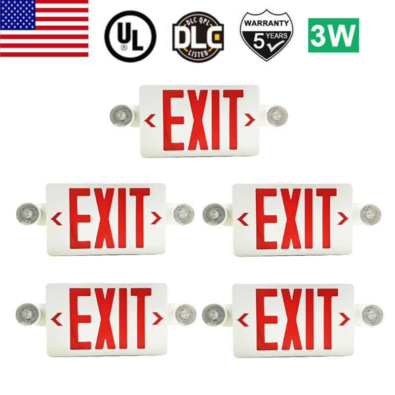 【5 Pack】Red LED Exit Sign Emergency Light – Hi Output Compact Combo UL-listed