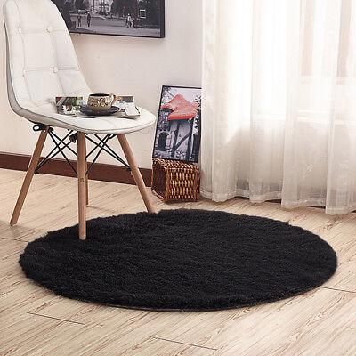 Round Black Shaggy Fluffy Rugs Bedroom Floor Mat Anti-Skid Area Rug Home Carpet  ()