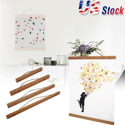 Magnetic Wooden Photo Frame Poster Scroll Print Artwork Hanger Home Office Decor - Wooden Poster Frames