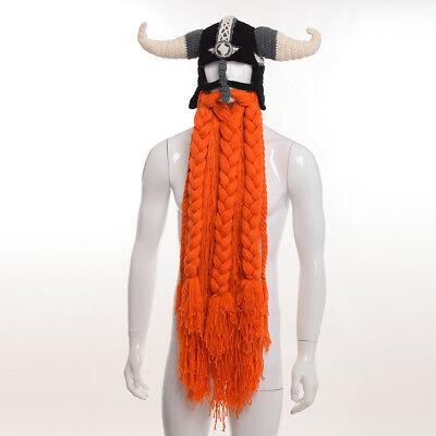 Viking Männer häkeln bärtigen Hut Halloween Kostüm Wikinger gehörnte - Viking Kostüm Männer