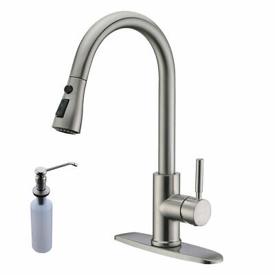 Brushed Nickel Kitchen Faucet Pull Down/out Sink Mixer Taps with soap dispenser