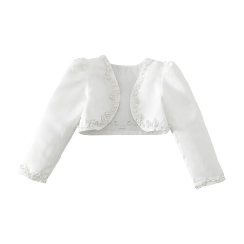 Girl Faux fur long sleeve bolero jacket shrug wedding baptism communion coat