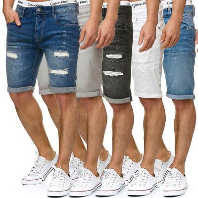 INDICODE Herren Jeans Shorts Kurze Denim Bermuda Hose Leinen Cargo Destroyed NEU