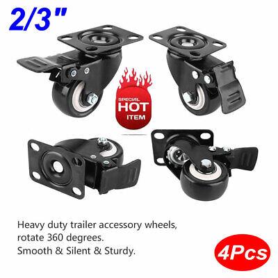 Heavy Duty 4 Pack 23 Caster Wheels Swivel Plate Total Lock Brake 360 Rotation