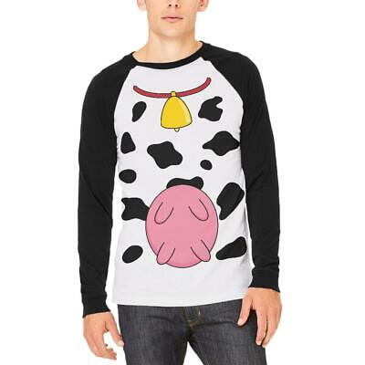 Halloween Cow Costume Udders Funny Mens Long Sleeve Raglan T Shirt - Cow Udder Halloween Costume