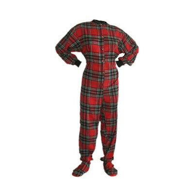 Red and Black Flannel Adult Footed Pajamas Footie Drop Seat Mens Womens PJs Flannel Footed Pajamas
