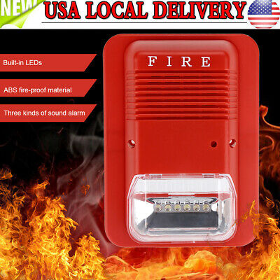 Sound Light Fire Alarm Warning Strobe Siren Horn Alert Safety System Sensor Us