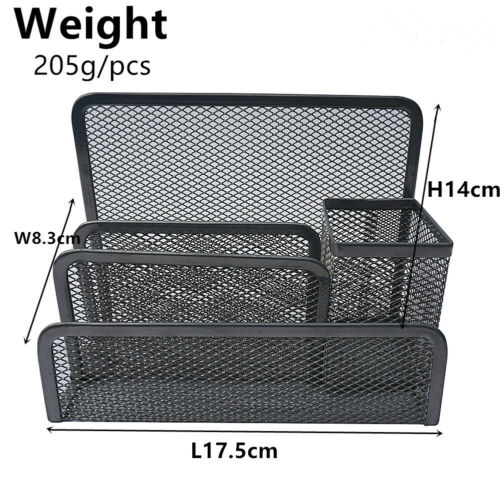 Easy PAG Mesh Desk Organizer Office Supplies Caddy 4 Compartments Black
