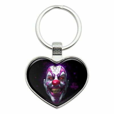 Creepy Scary Clown Keep It Smiling Heart Love Metal Keychain Key Chain Ring - Female Scary Clown