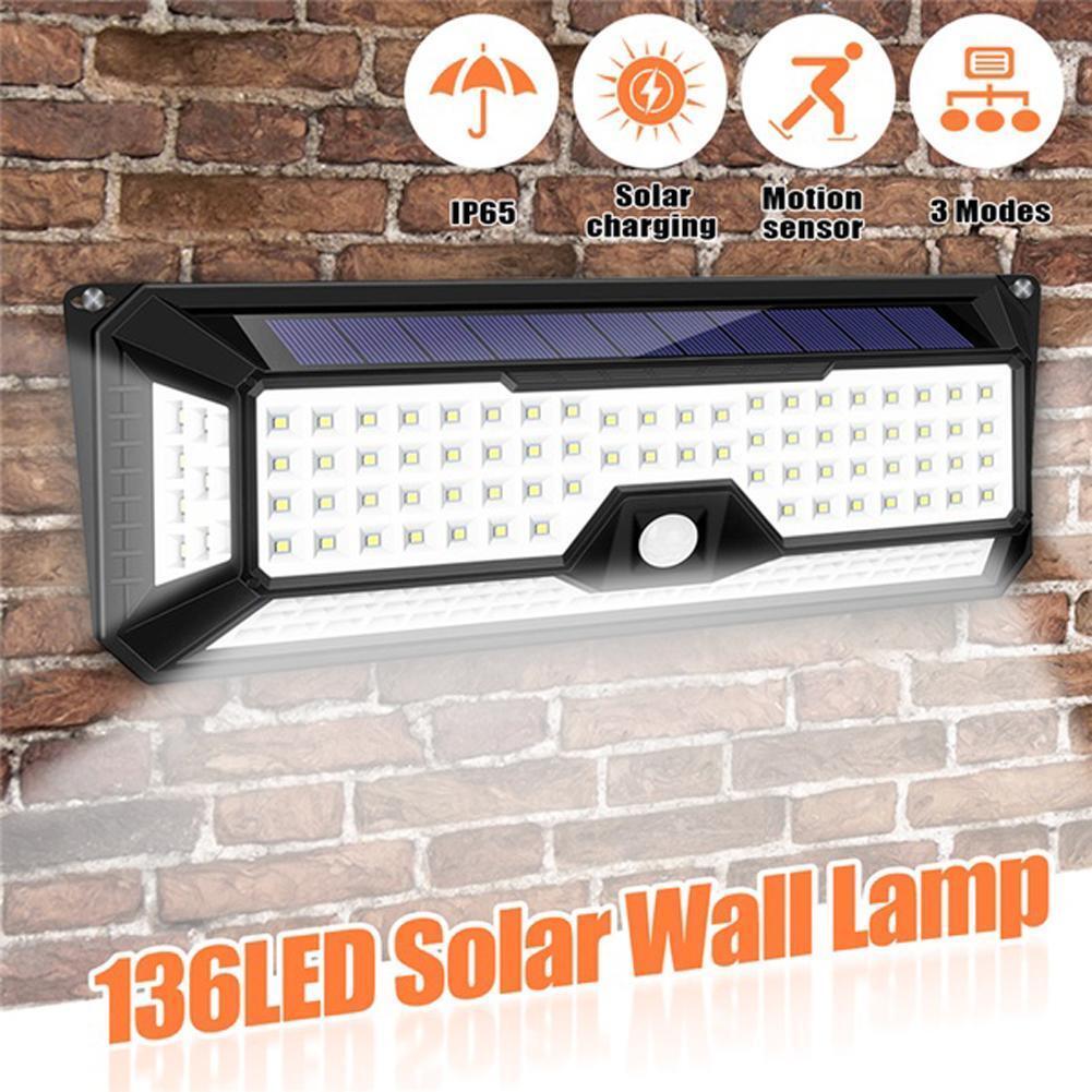 136 led solar power pir motion sensor
