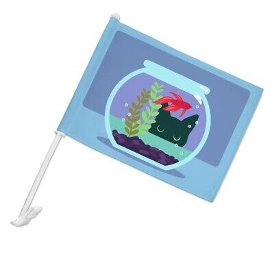 Black Cat Staring at Betta Fish Bowl Car Flag with Window Clip On Pole Holder (Fish Cat Rod Holder)