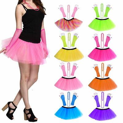 3PCS Set Neon UV Tutu Skirt Gloves Beads Women 80s Fancy Dress Halloween