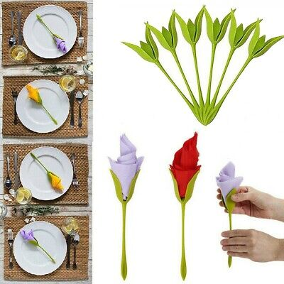 Plastic Twist Bloom Napkin Holders Flowers Floral Green For Table Decoration DIY