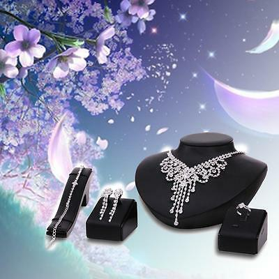 Hot Prom Wedding Bridal Party Crystal Rhinestone Necklace Earring Jewelry Set S,