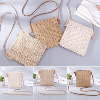 Womens Summer Beach Tote Handbag Ladies Rattan Straw Wicker Crossbody Bag Basket Straw Basket Bag