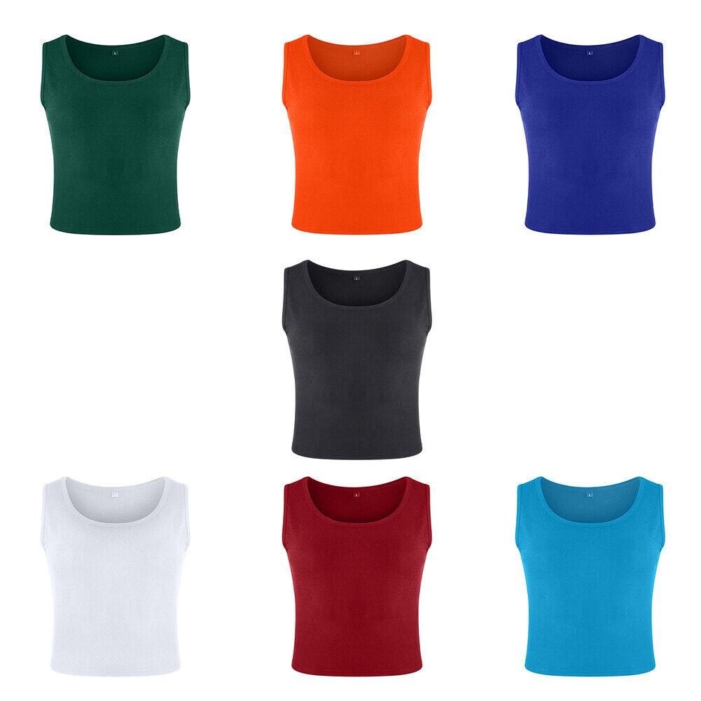 Mehrfarbig Damen Sommer Westen Vest Top T-shirt Hemd Tanktop Crop Stretch Shirt