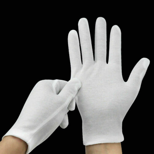 2 Pair (4PCs) White Soft Thin Cotton Gloves for Jewelry Gold Watch Inspection