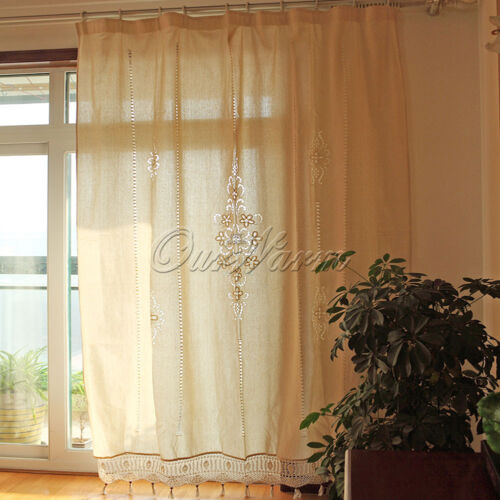 Tab Top French Country Cotton Linen Crochet Lace Curtains Vintage Panel Drape Ebay