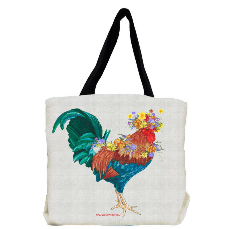 Rooster Farm with Flowers Tote Bag