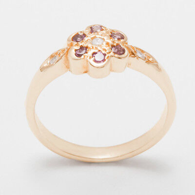 - Solid 18ct 750 Rose Gold Natural Diamond & Pink Tourmaline Womens Daisy Ring