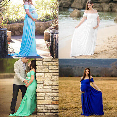 Women's Off Shoulder Cotton Maxi Maternity Dress Baby Shower Photo Shoot Costume