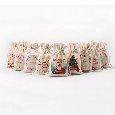 Christmas Gift Candy Bags Canvas Santa Drawstring Sack Party Favors Xmas - Gift Sack