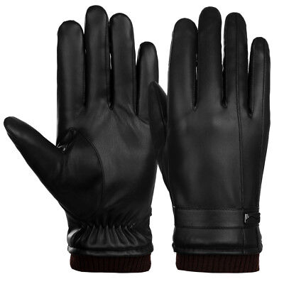 New Winter Mens Pu Leather Gloves Touch Screen Gloves Warm Black Gloves Mittens
