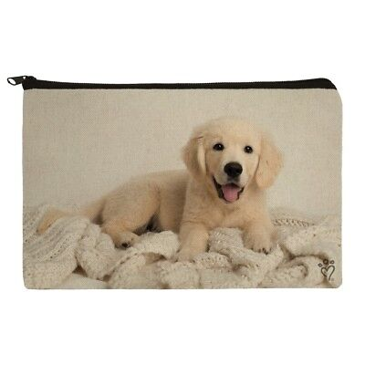Golden Retriever Puppy Dog and Blanket Makeup Cosmetic Bag Organizer Pouch