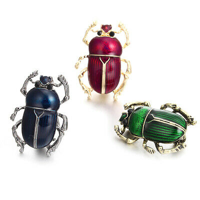 Green Womens Brooch (Women's Genuine Brooch Green Scarab Beetle Insect Brass Pin Bug Jewelry Happy )