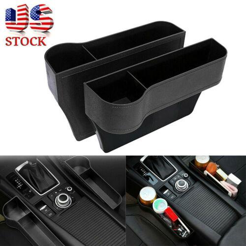 2X Car Seat Gap Catcher Filler Storage Box Pocket Organizer Holder Leather USA Car & Truck Parts