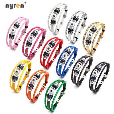 Genuine Leather Charms Bracelet Multi Color For 12mm snap button Snap Jewelry ](Jewelry Snaps)