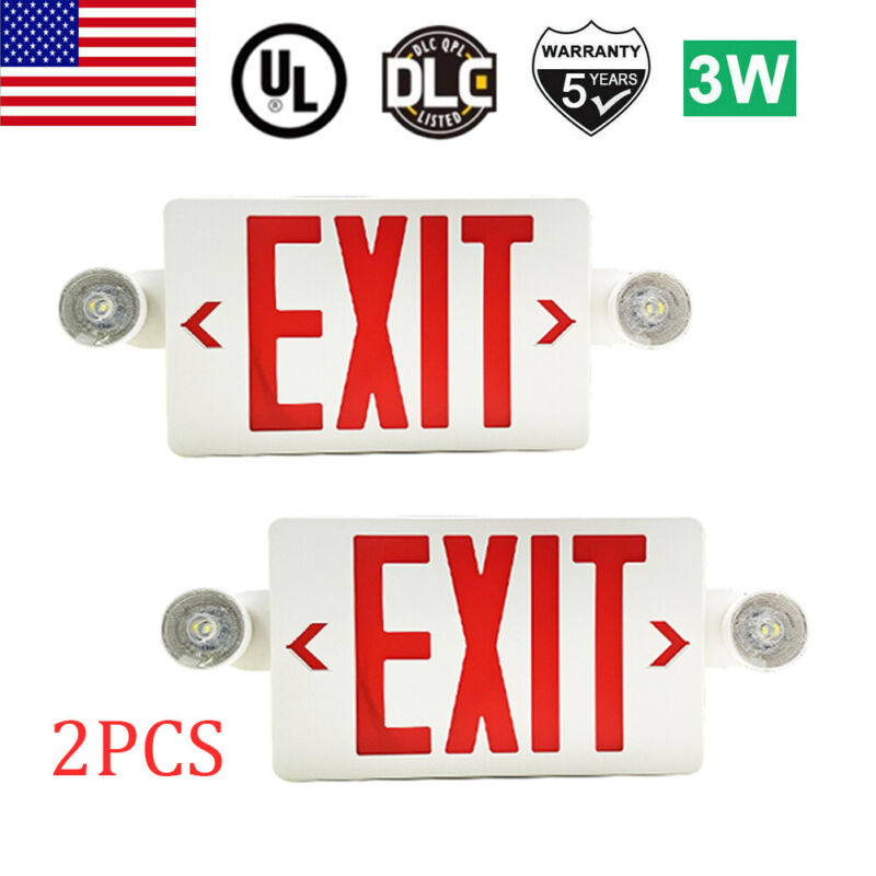 2Pack LED Exit Sign Emergency Light–Hi Output Compact Combo UL listed Red Fire
